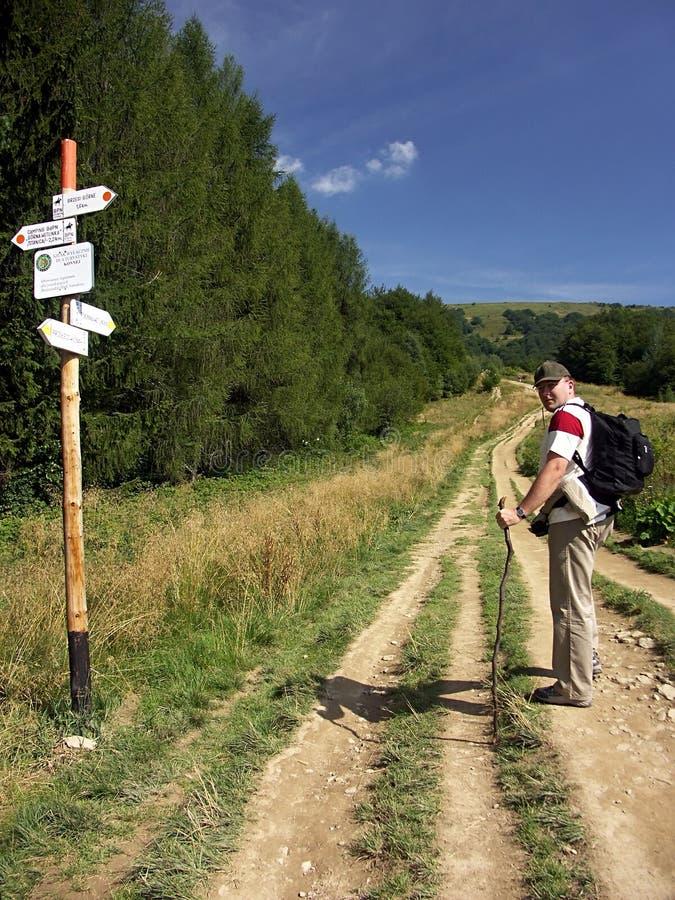Turista su una pista fotografia stock libera da diritti