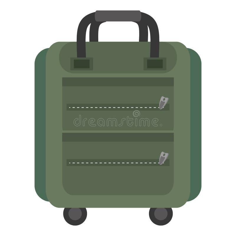 Turista verde do saco do curso do packback da mala de viagem ilustração royalty free