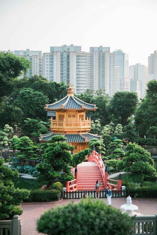 turista in visita al convento Chi Lin, il più grande tempio buddista di Kowloon, Hong Kong fotografia stock libera da diritti