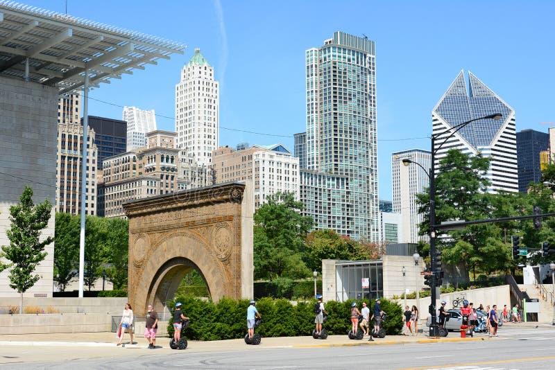 Turistas Chicago de Segway imagem de stock