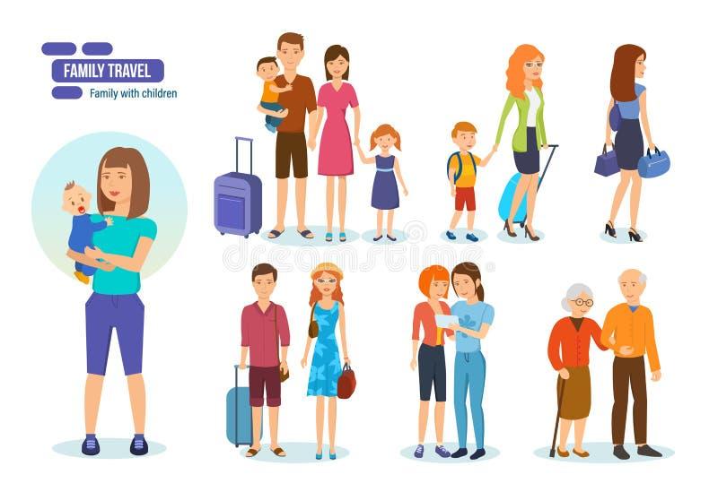 Turistas com o laggage que viaja com sócios, amigos da família e crianças ilustração stock