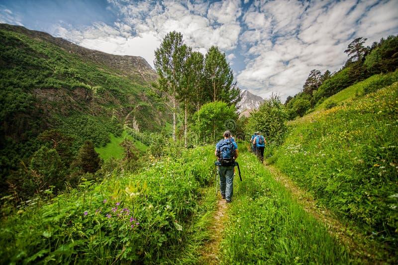 Turistas con el polo del senderismo que va en la montaña Cheget imagenes de archivo