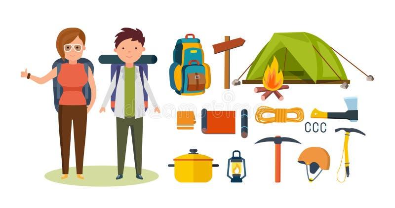 Turistas, contratados na caminhada, acampando, equipamento básico, facilidades nas caminhadas ilustração stock
