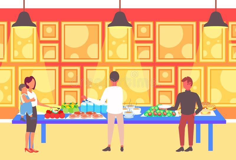 Turistas de la gente que eligen platos de interior moderno del restaurante del hotel del abastecimiento del negocio de la tabla y libre illustration