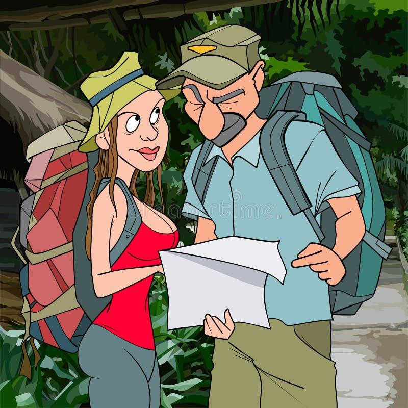 Turistas del hombre y de la mujer de la historieta en la selva ilustración del vector