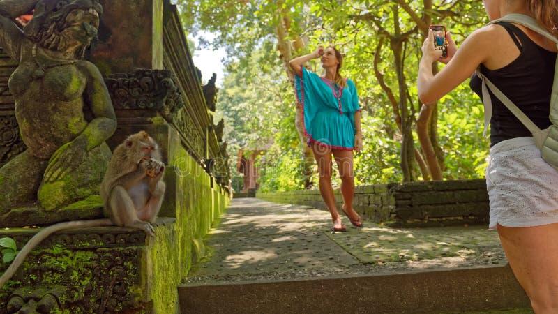 Turistas em macacos floresta sagrado, Ubud, Bali imagem de stock