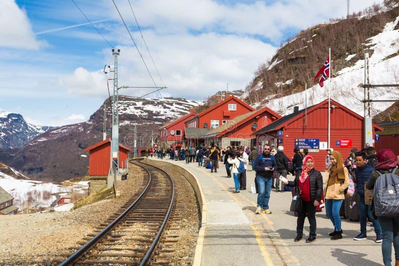 Turistas en la estación de Myrdal en Noruega imagen de archivo libre de regalías