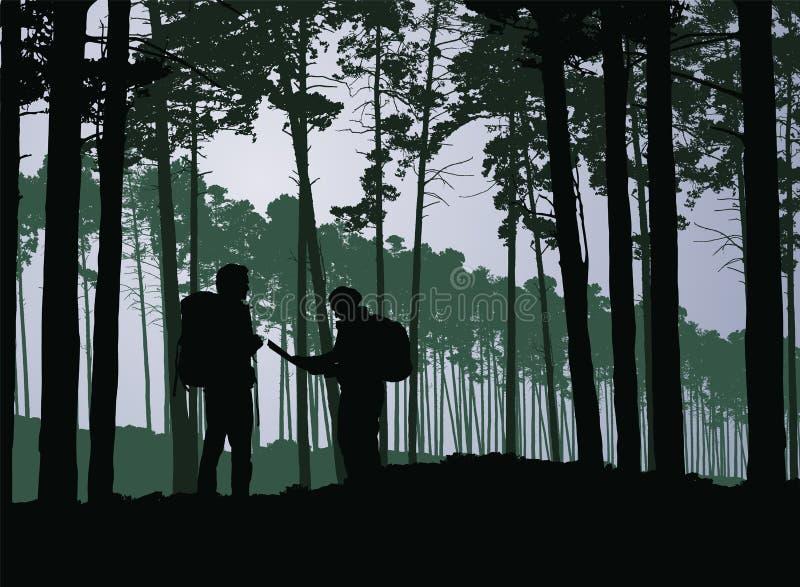 Turistas, homem e mulher com trouxas e mapa que vagueia na frente ilustração stock