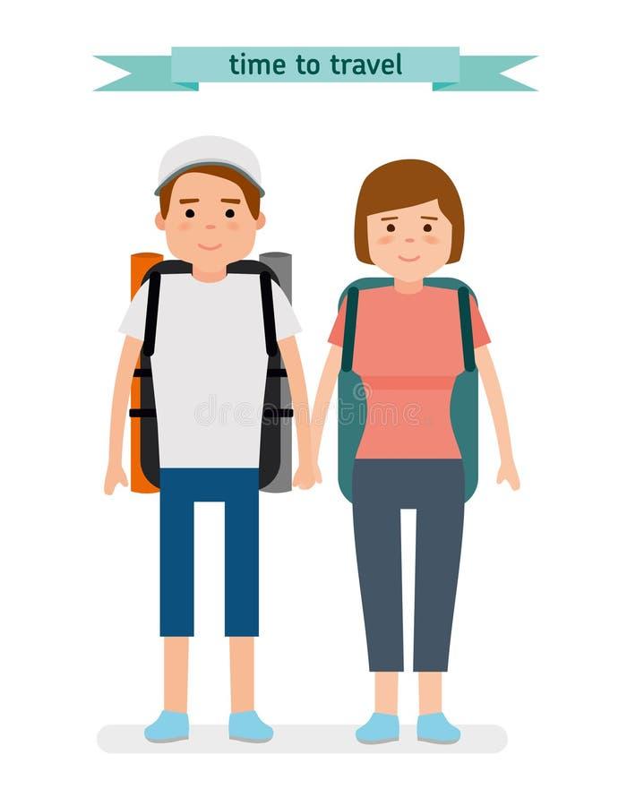 Turistas jovenes Aliste para viajar stock de ilustración