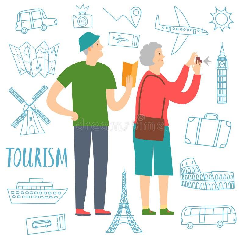 Turistas jubilados de los pares stock de ilustración
