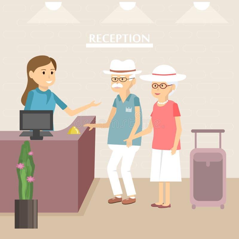 Turistas mayores en la recepción del hotel libre illustration