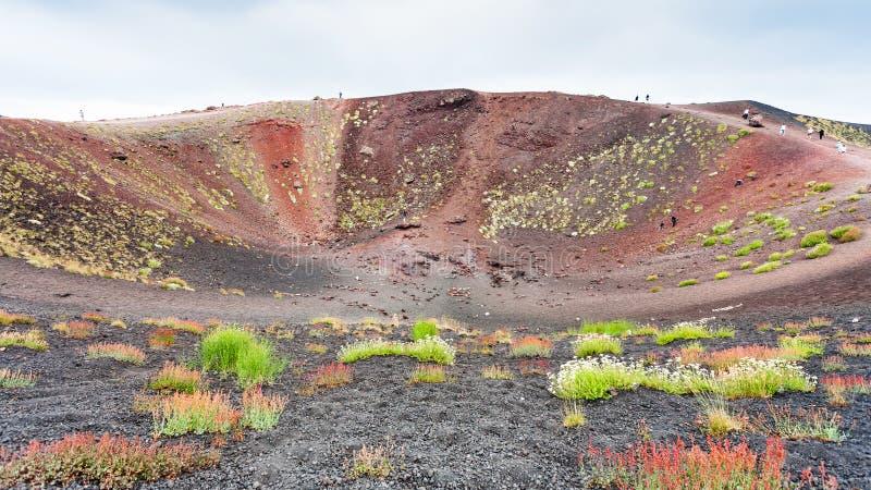 Turistas na borda da cratera grande em Monte Etna imagens de stock