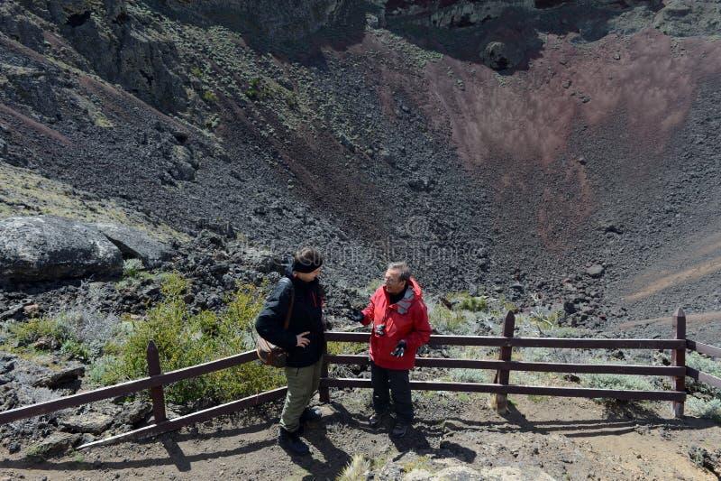 Turistas na cratera de um vulcão extinto no parque nacional Pali Aike no sul do Chile fotos de stock