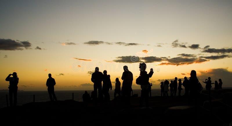Turistas no cabo de Sounion em Greece fotos de stock royalty free