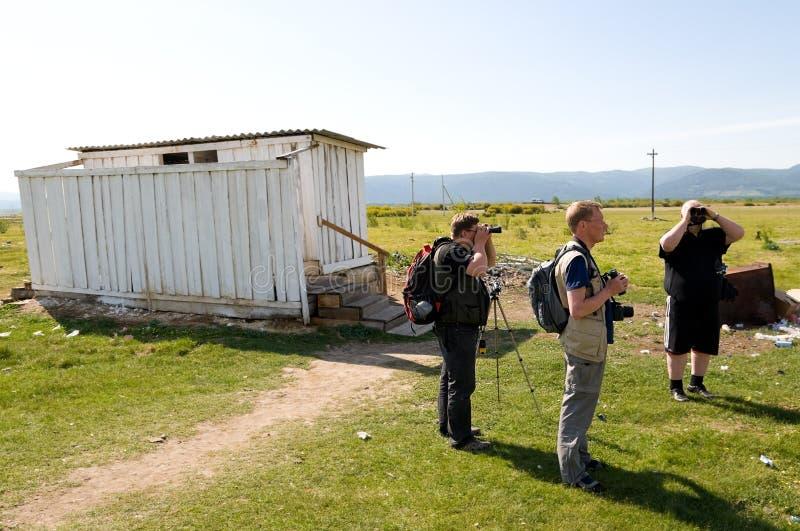 Turistas no nativos en Rusia foto de archivo