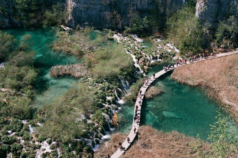 Turistas que andam sobre a ?gua de turquesa de lagos Plitvice imagem de stock royalty free