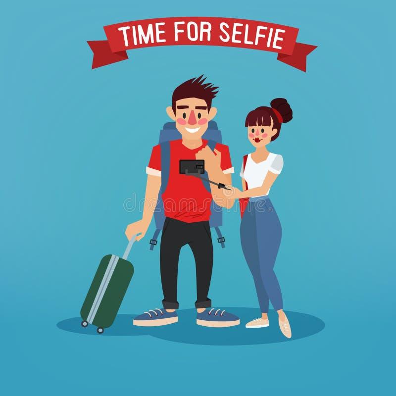 Turistas que fazem o selfie Bandeira do curso ilustração do vetor