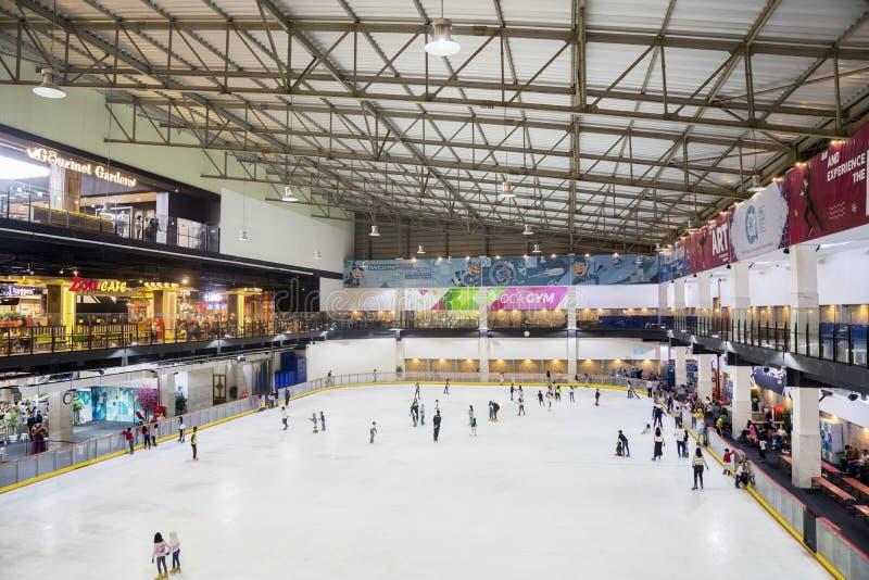 Turistas que jogam a patinagem no gelo na alameda moderna imagens de stock