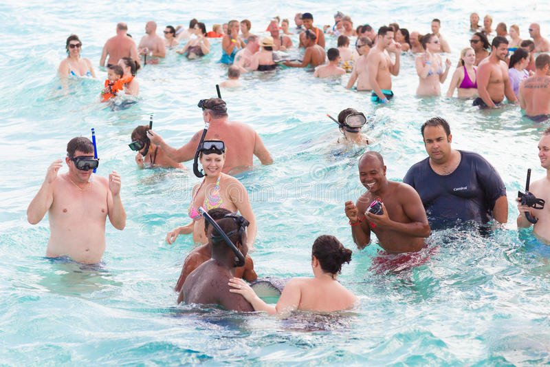 Turistas que nadam foto de stock