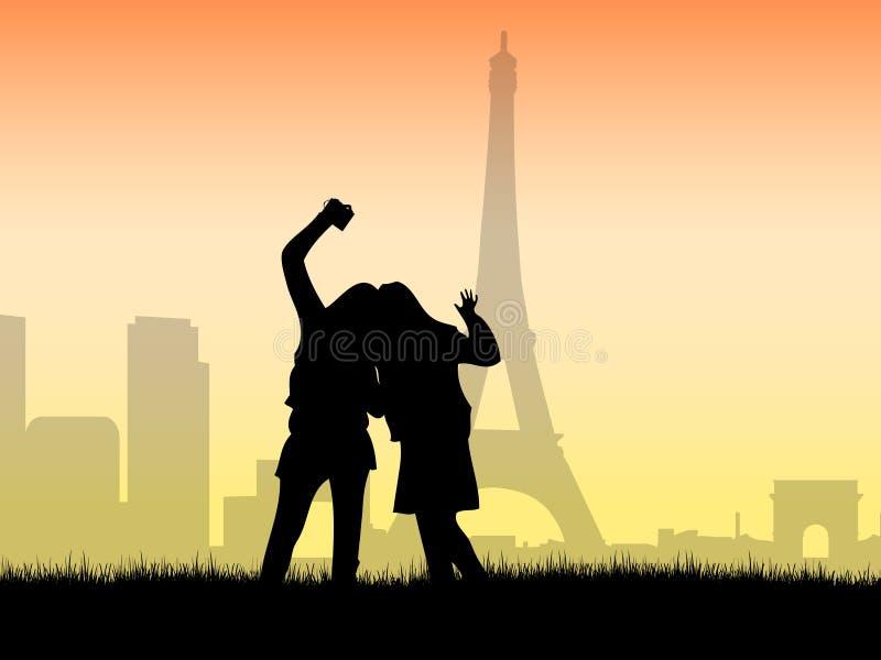 Turistas que tiran una foto en París libre illustration