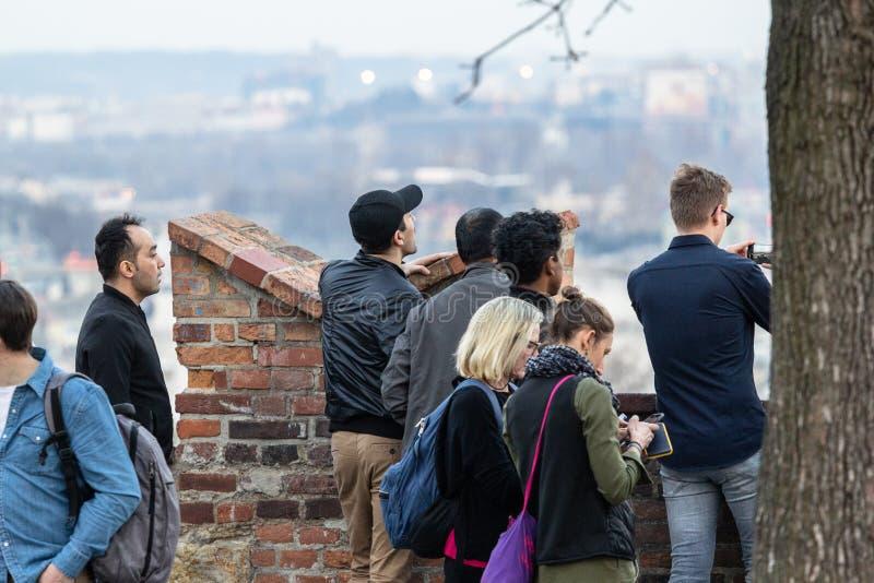 Turistas que toman cuadros foto de archivo
