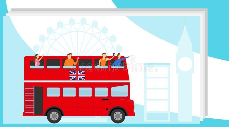 Turistas que viajan en autobús de dos plantas Viaje del autob?s ilustración del vector
