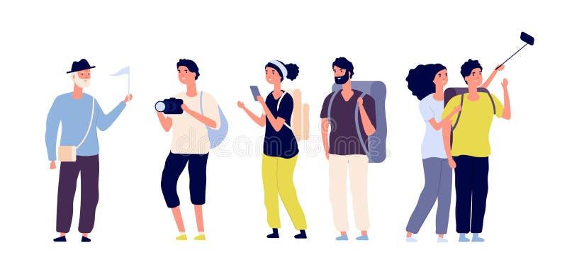 Turistas y guía turístico Pares jovenes familia, turistas que viajan con la cámara que toma la foto en la excursión Verano stock de ilustración