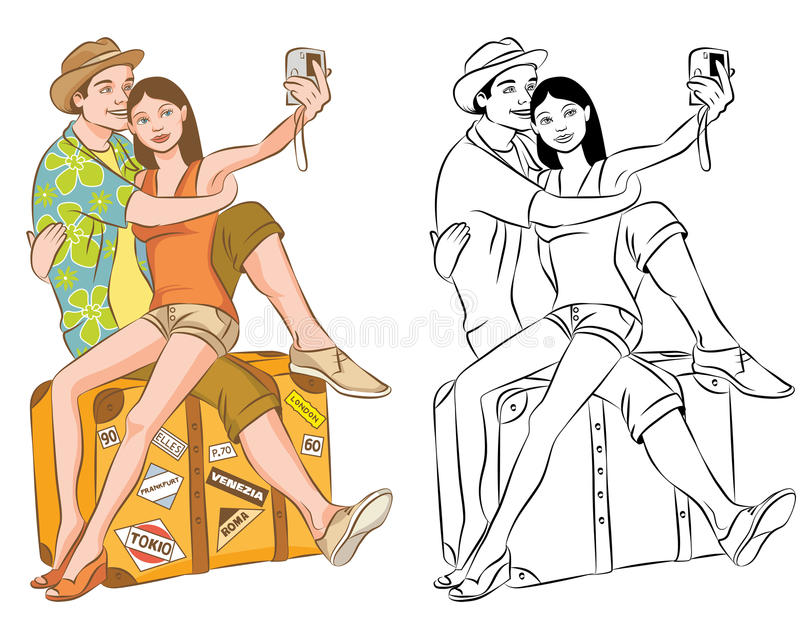 Turisten kopplar ihop att ta deras självståendevektorillustration vektor illustrationer