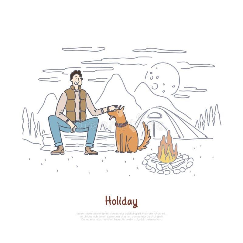 Turisten med hunden som sitter av lägereld som fotvandrar tur, lägret i skog, semestrar semestern, naturrekreation, campa baner vektor illustrationer