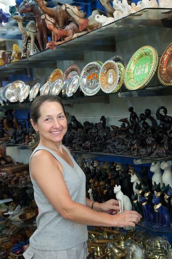 Turisten väljer den egyptiska stenkatten arkivfoto