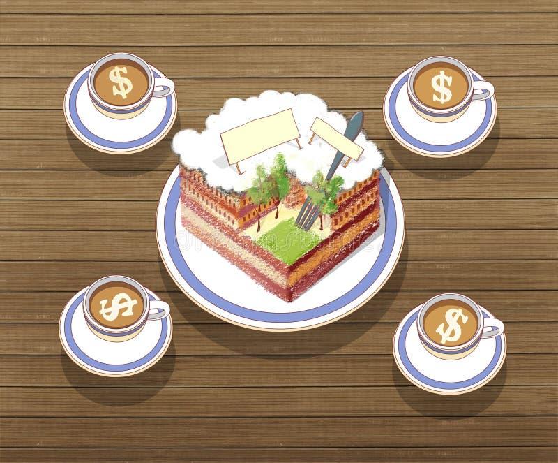 Turistens frukost per stycke av kakan i form av en stad och 4 koppar kaffe med mjölkar och ett dollartecken Mot royaltyfri illustrationer