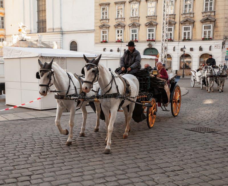 Turister är i hästvagnen arkivfoto