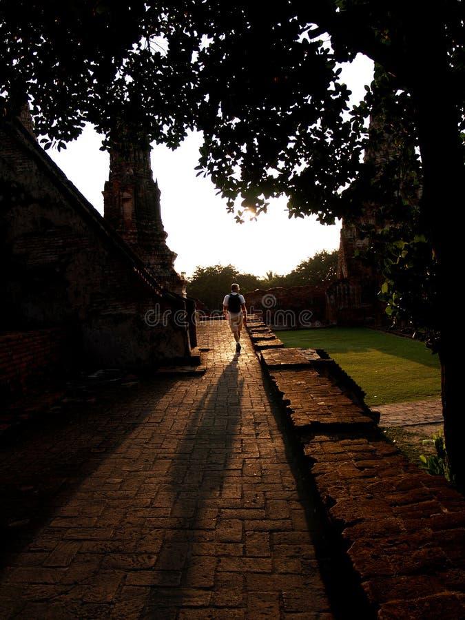 Turister går i templet i ayuthayaen Thailand I aftonen och solnedgången royaltyfri foto