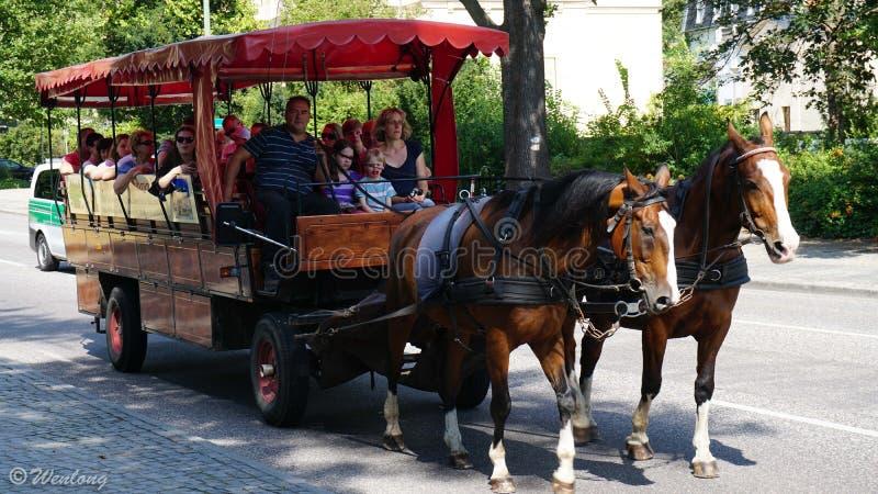 Turister i en vagn arkivbilder