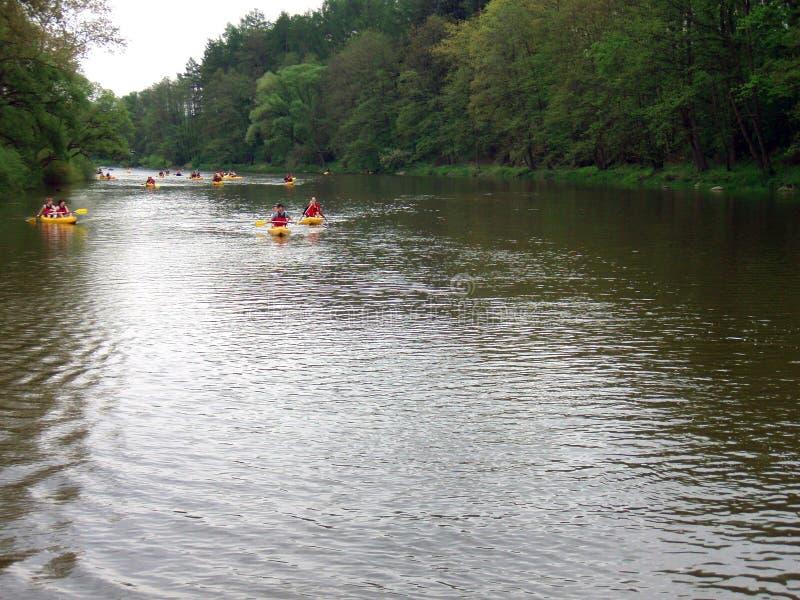 Turister i kanoter royaltyfri bild