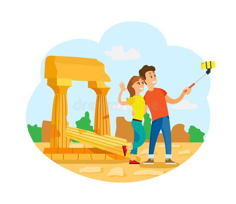 Turister i Rome som tar Selfie på forntida, fördärvar royaltyfri illustrationer