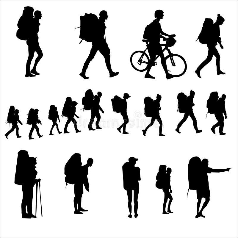 turister med ryggsäckar, går konturvektorn stock illustrationer