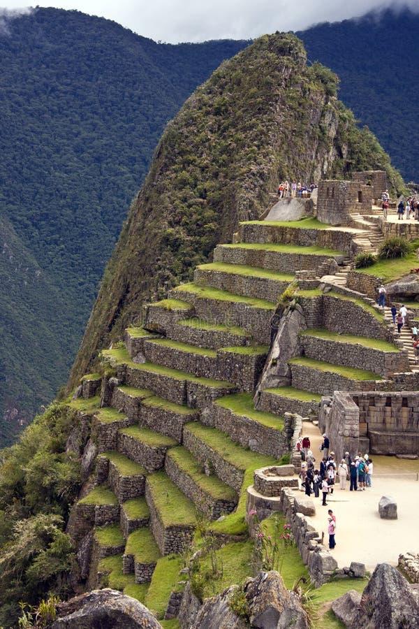 Turister på Machu Picchu i Peru arkivfoton
