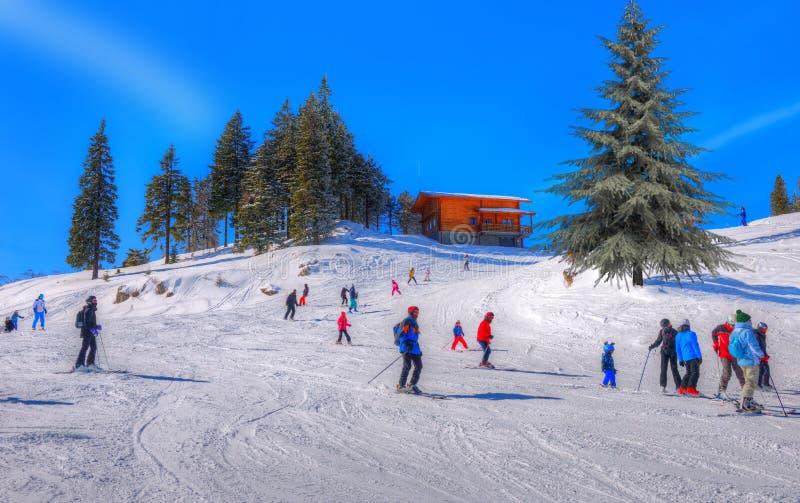 Turister på skidalutningen i Brasov royaltyfria bilder