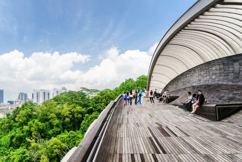 Turister som går på Henderson Waves i Singapore arkivfoto