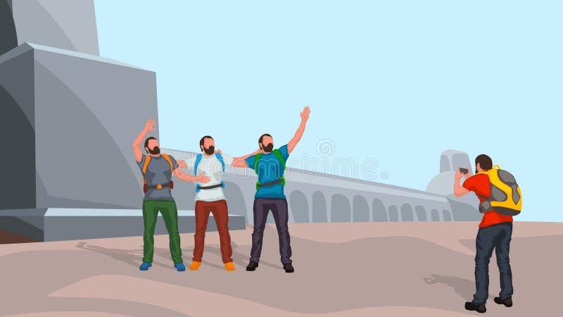Turister som gör bilden vektor illustrationer