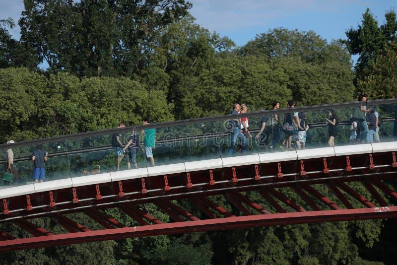 Turister som korsar den nya moderna bron i Venedig, Italien royaltyfria bilder