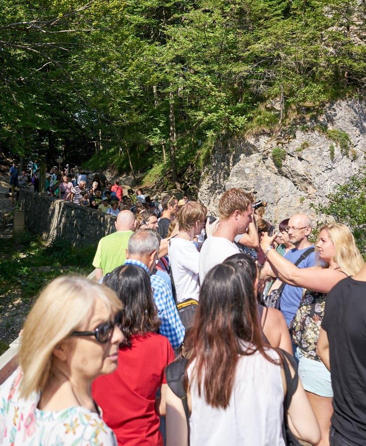 Turister tränger ihop på Marienbrucke för iconic sikt av den Neuschwanstein slotten royaltyfri fotografi