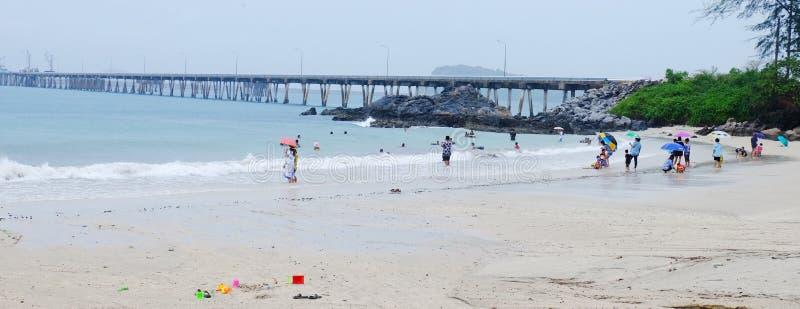 Turisterna simmar på stranden royaltyfri foto