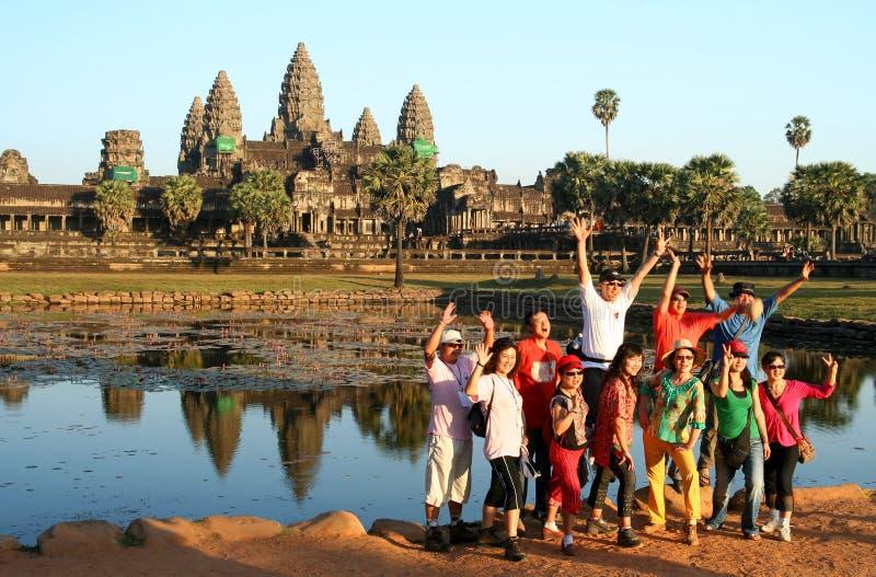 Turisti a Angkor immagine stock