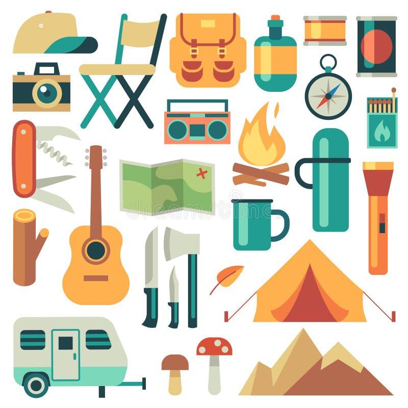 Turisti attrezzatura ed insieme di vettore degli accessori di viaggio illustrazione di stock
