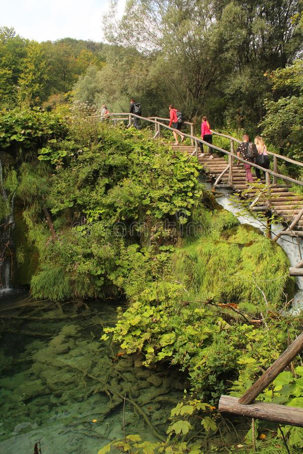 Turisti che fanno un'escursione al parco nazionale dei laghi Plitvice - scale del woode sopra un lago fotografia stock libera da diritti