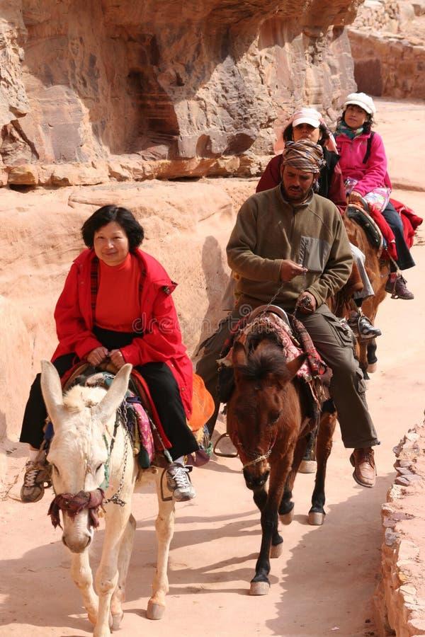 Turisti che guidano asino nel PETRA Giordano immagini stock libere da diritti