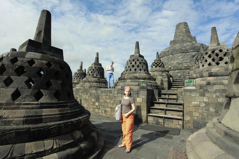 Turisti che visitano Borobudur fotografia stock