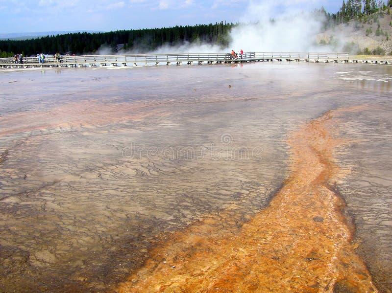 Turisti che visitano grande primavera prismatica, Yellowstone NP immagine stock libera da diritti